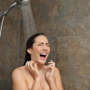 woman in cold shower